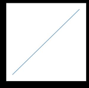 点(0, 0) と点 (1, 1) を結ぶ線分.
